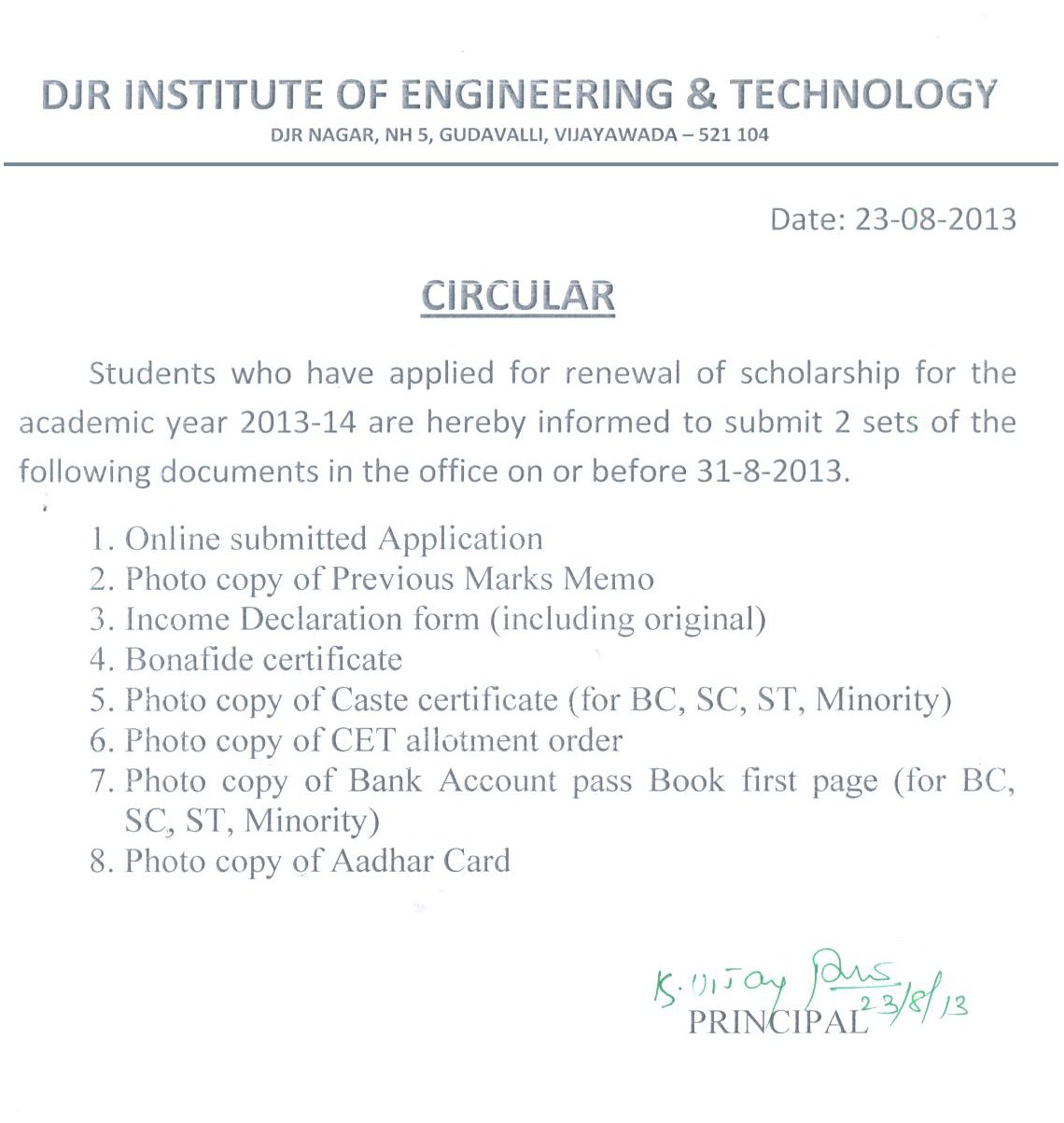Djr institute of engineering technology scholoar ship documents required for the academic year 2013 14 xflitez Gallery